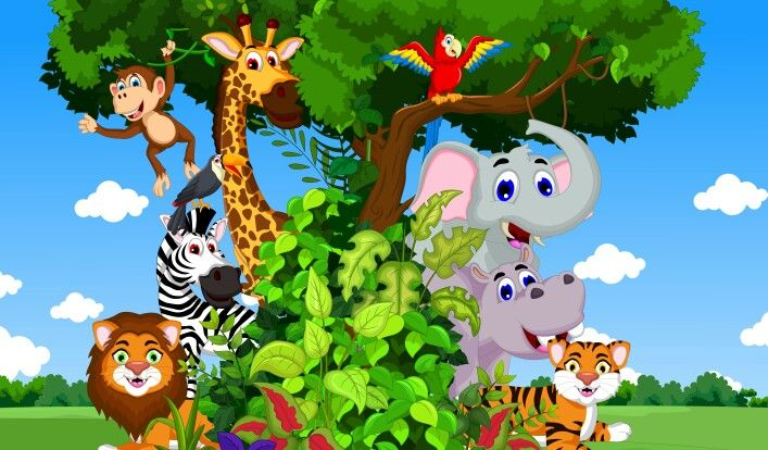Cute animals cartoon with tropical forest background