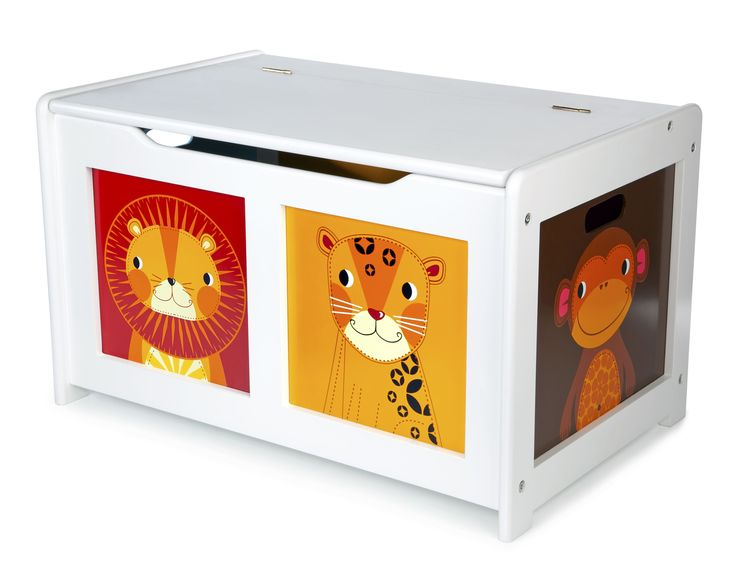 MORE VIEWS Tidlo White Jungle Wooden Toy Chest TIDLO WOODEN WHITE TOY BOX SKU:T-0226 Write a review OUT OF STOCK  The Tidlo Wooden White Jungle Toy Box features animal illustrations and a 'soft close' mechanism to protect little fingers. The large capacity means its perfect for lots of toys! Recommended ages: 3 years +. Dimensions: L63 x W40 x H37cm