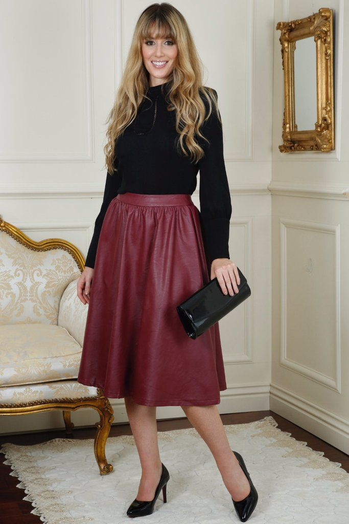 Adele Pleather Wine Swing Skirt