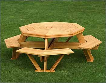free plans for octagon walk in picnic table woodworking projects plans. Black Bedroom Furniture Sets. Home Design Ideas