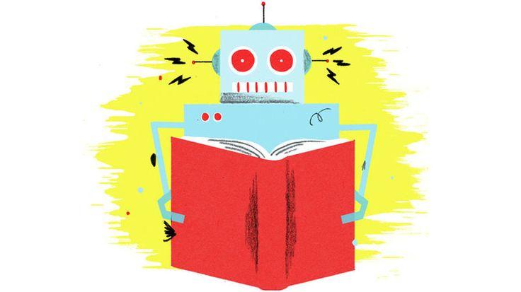 Illustration: A robot reads. (w)