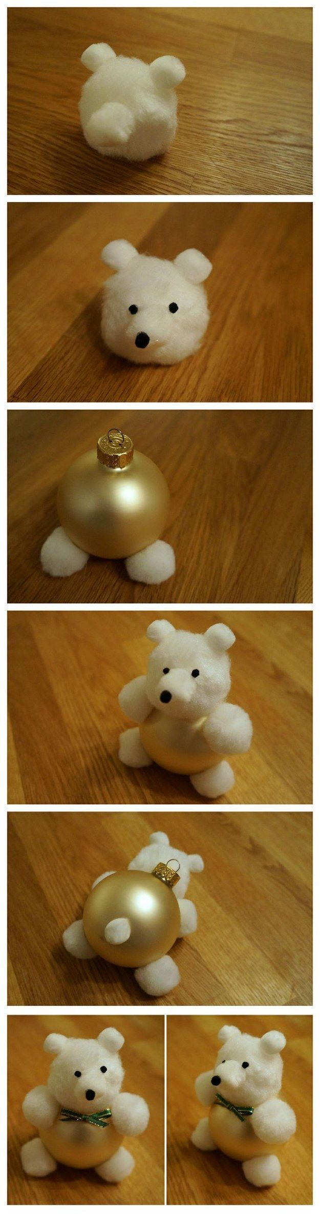 Cotton Ball Teddy Bear Ornament | 62 Impossibly Adorable Ways To Decorate This Christmas: