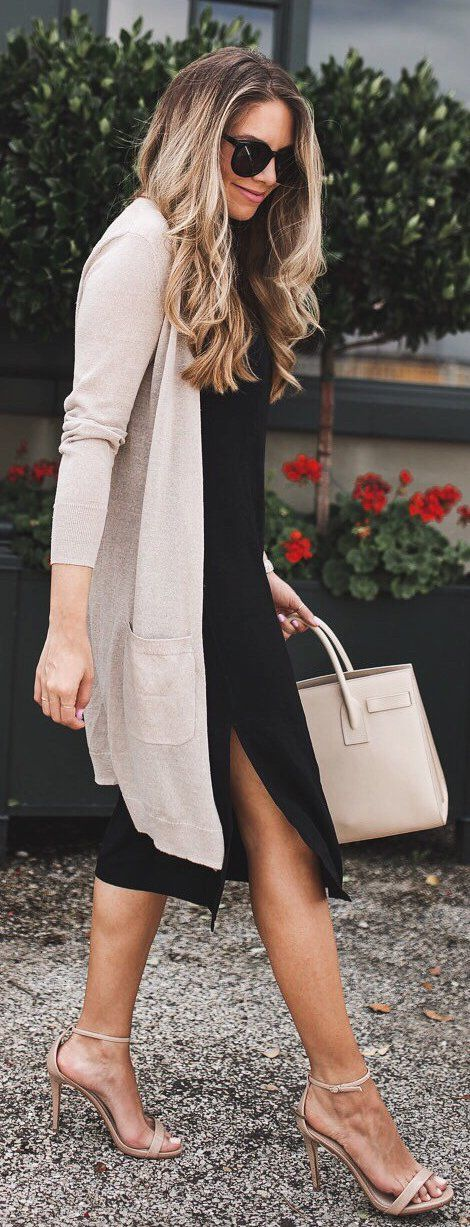 #summer #outfits Light Cardigan + Black Dress + Nude Sandals
