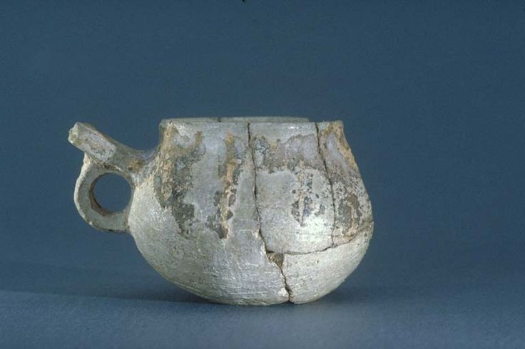 Viking pottery cup with handle from Gotland, Sweden