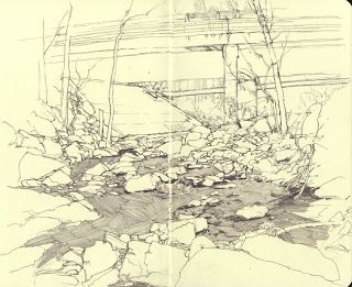 The Work of Daniel Robbins  This drawing is of a small pond and a few trees. I was drawn to the mark making used to create the water. The linework creating the rest of the drawing is exact and smooth. The items are lighter in the background and darker in the foreground to create depth.