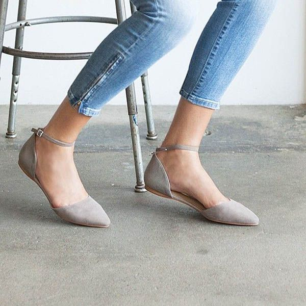 pale gray d'orsay flats + skinny light blue jeans with zippered ankles