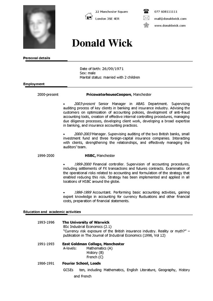 american cv format download