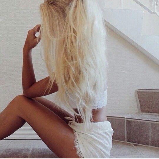 Long sun bleached blonde hair