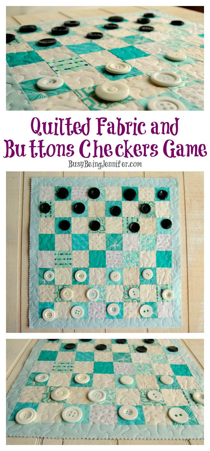 Fabric checkerboard with button checkers ~ tutorial