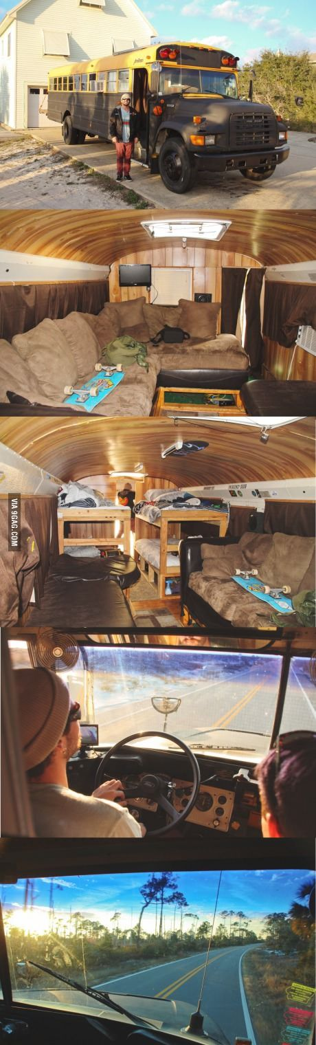 Me and my friends remodeled a school bus so we can go on a summer road trip
