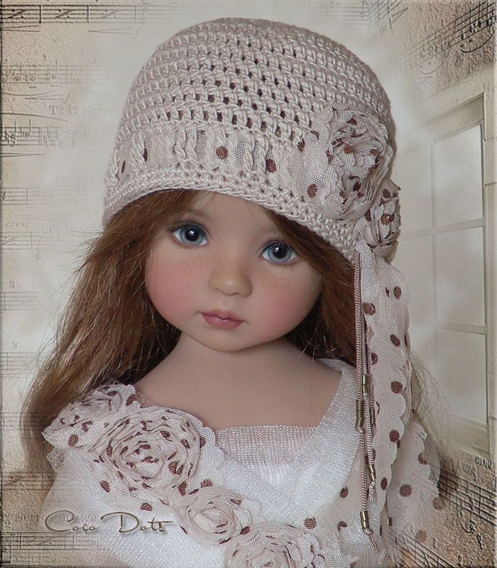COCO DOTS Hat 4Effner Little Darling, Mini Fe, Ellowyne, Prudence, BJD by Linda
