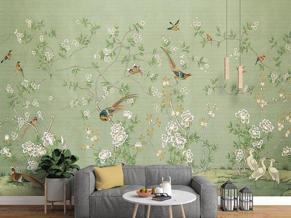 Chinoiserie Wallpaper Wall Mural Self Adhesive Wallcovering Hand Painted Branch On Vintage Blue Shade Wall Chinoiserie With Bird In 2021 Chinoiserie Wallpaper Wall Wallpaper Kids Room Wall Murals