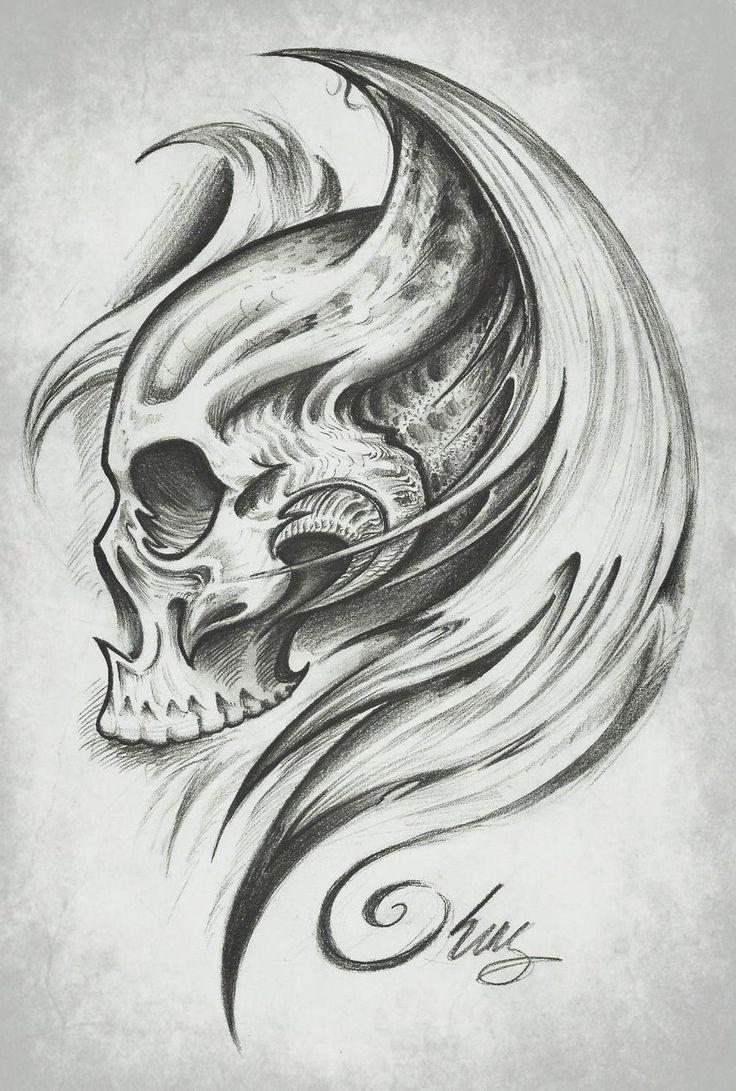 skull wings by j king tatoeages om na te tekenen pinterest wings skulls. Black Bedroom Furniture Sets. Home Design Ideas