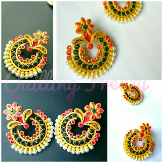 Traditional earrings for special occasions..   #quillingfrenzy #paperquilling #handmade #earrings #quilling #studs #paper #excited #grand #grandeur #traditional #gold #elegant #bollywood #festive