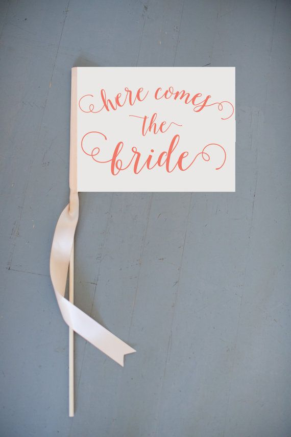 This listing is for a made to order small rectangular wedding sign that says Here Comes The Bride in a modern yet romantic script font . You can