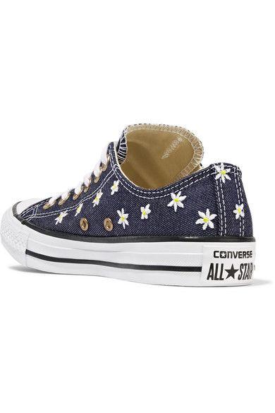Converse - Chuck Taylor All Star Embroidered Denim Sneakers - Dark denim - UK5