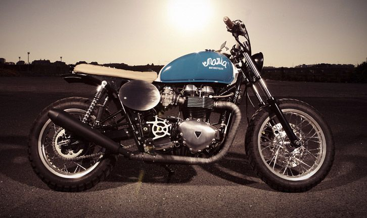 Triumph Thruxton 900 MIGHTY BLUE by MARIA Riding Company #motorcycles HelmetCity.com