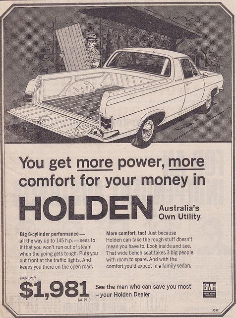 If Holden's were still this price, I'd have a dozen!  1967 HR Holden Ute Ad - (Australia)