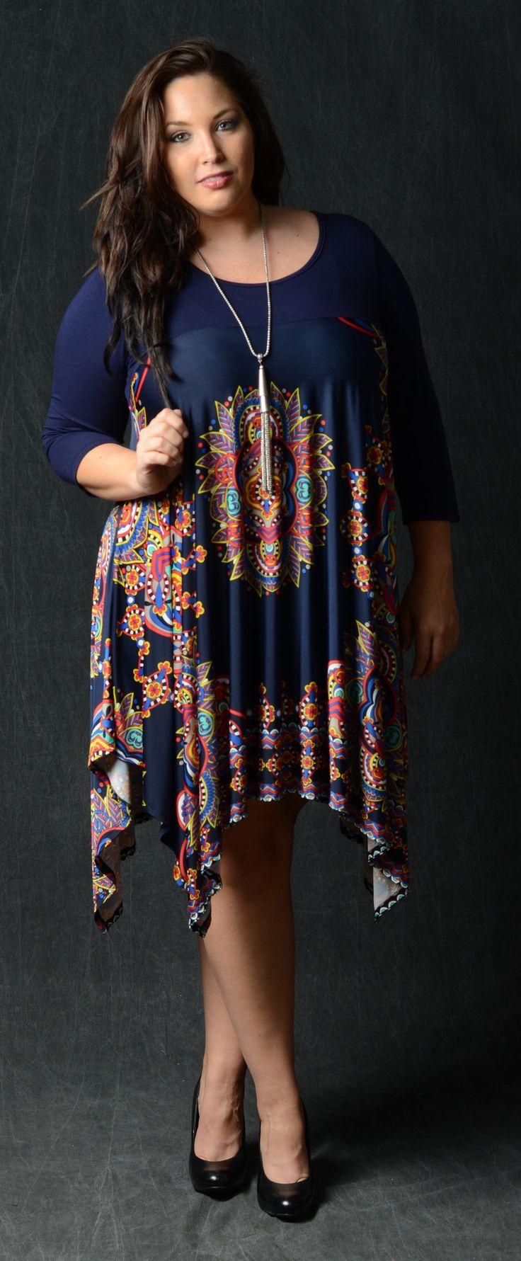 Asymmetrical Contrast Dress Mandala Print 92% Polyester 8% Spandex Made in the USA