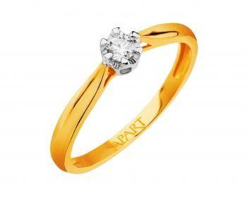 Pierścionek z żółtego złota z brylantem.Zawsze będzie modny!