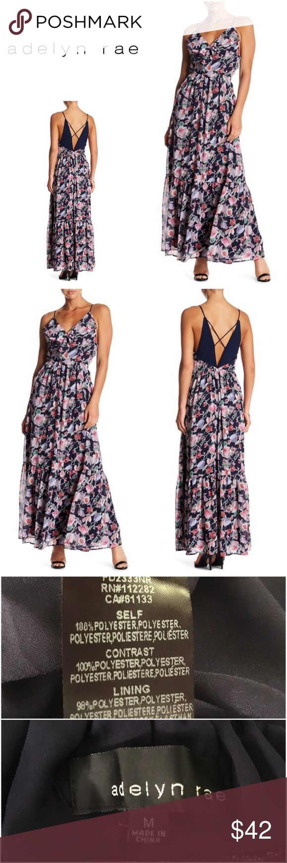 """New Adelyn Rae Printed Frill Maxi Dress New & never worn, Adelyn Rae Printed Frill Maxi Dress   Size Medium  Bust: 36.5"""" Waist: 29"""" Hips: 39""""  - Surplice neck with hidden snap button closure - Sleeveless - Adjustable spaghetti straps - Crisscross back straps - Ruffled trim - Allover floral print - Lined - Approx. 60"""" length (size S) - Imported Fiber Content Self/contrast: 100% polyester Lining: 98% polyester, 2% spandex  Free gift with every purchase! Your purchase goes towards the…"""