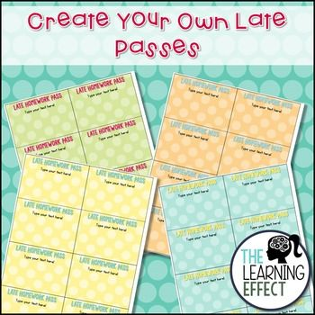 Late Homework Passes {Editable}