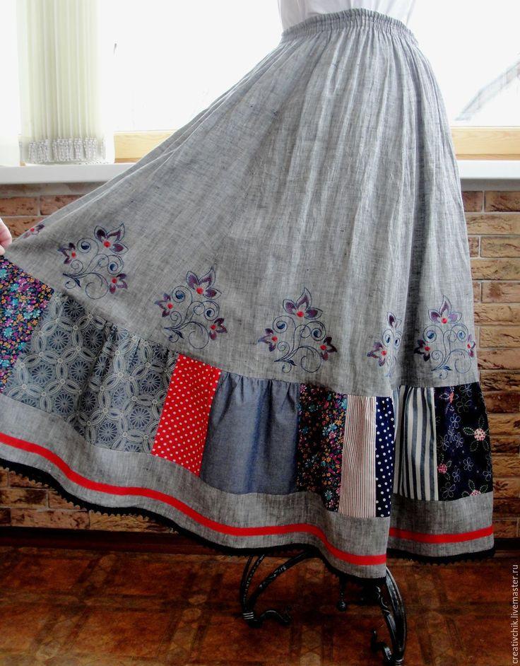 Купить Летняя длинная юбка с вышивкой - длинная летняя юбка бохо, юбка летняя длинная