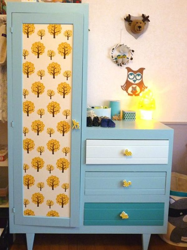 Meuble commode armoire customisation r novation ferm living pakhuist oost papier peint d co - Papier peint enfant vintage ...
