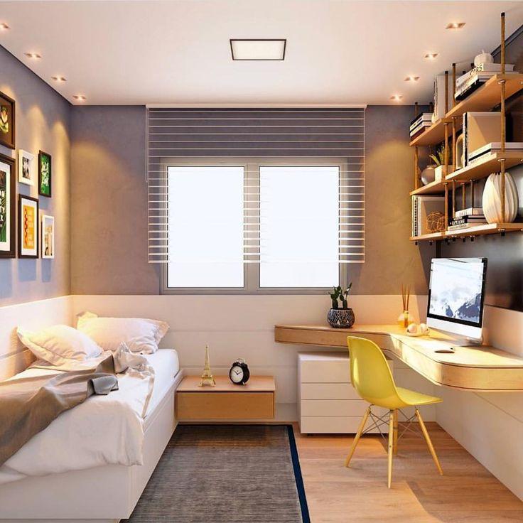 """12 mil curtidas, 38 comentários - ARQUITETURA E INTERIORES ✨ (@decoreinteriores) no Instagram: """"Dormitório que se transformou em um home office com direito a prateleiras suspensas por cordas! Um…"""""""