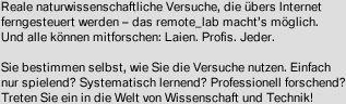 RCL - Remotely Controlled Laboratories Eberhard von Kuenheim Stiftung, Gesamtmetall, intelEducation, Schulen ans Netz, TU Kaiserslautern