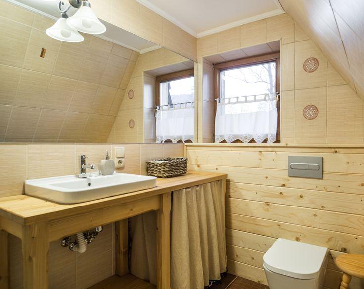 Upgrade tile bathroom DIY in wood natural raw cottage mountains attic bathroom