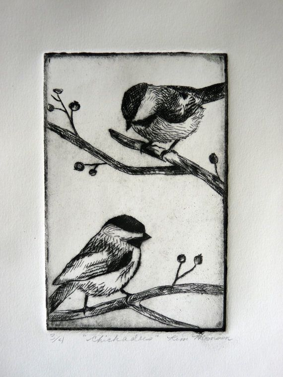 Chickadees Dry point etching by ArtbyKimberlyMonson on Etsy, $30.00