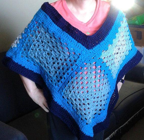 Original design hand crocheted granny square poncho in blues