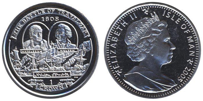 Остров Мэн 1 крона, 2005 год . Трафалгарское сражение