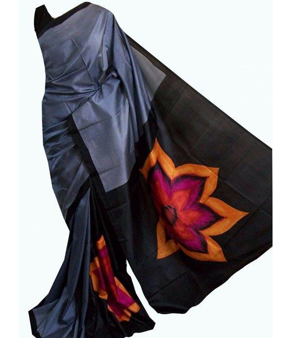 Grey Handpainted Murshidabad Silk Saree