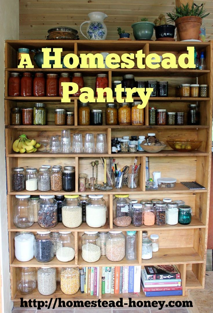 A custom built pantry, sized to hold quart, half-gallon, or gallon sized mason jars, and built into our 350 square foot house for maximum food storage organization. | Homestead Honey