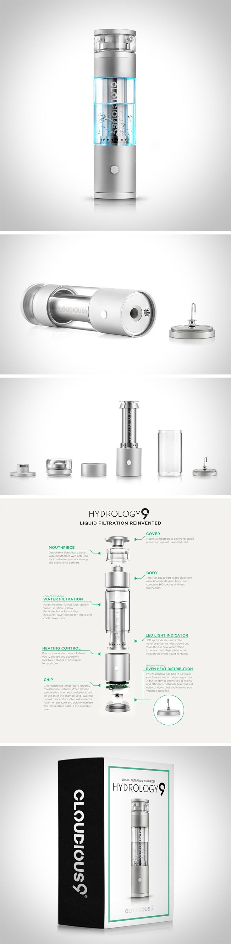 """As sick as this vaporizer looks, what sets it apart is unparalleled water filtration technology. Vaping is all about smoothness, and the addition of water enhanced the sensation even more. Hydrology9's patent pending """"tunnel-tube"""" system allows an unobstructed flow while keeping it leakproof and aesthetically seamless."""