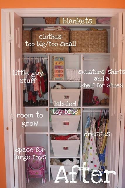 Organized kid closet