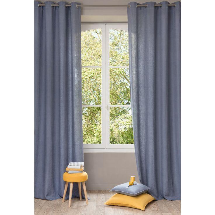 rideau gris bleu. Black Bedroom Furniture Sets. Home Design Ideas