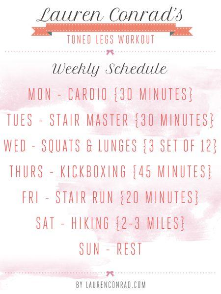 Lauren Conrad's weekly #workout schedule for toned legs
