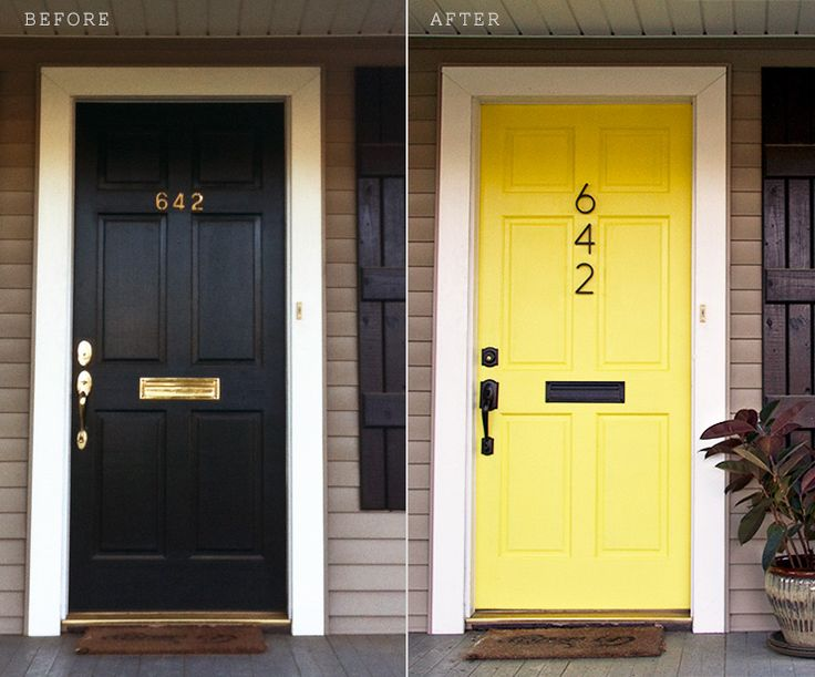 Yellow Door Before and After - I love yellow doors