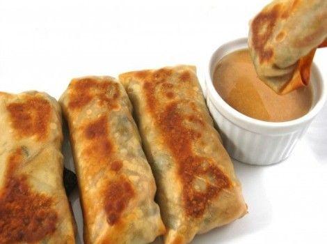 Skinny Baked Vegetarian Egg Rolls with Peanut Sauce SmartPoints 3
