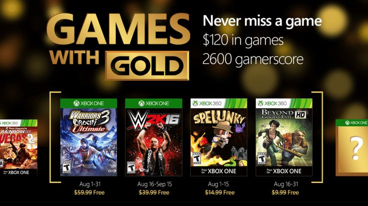 Xbox Live Games with Gold August 2016: WARRIORS OROCHI 3 Ultimate WWE 2K16 for Xbox One & Spelunky Beyond Good... #LavaHot http://www.lavahotdeals.com/us/cheap/xbox-live-games-gold-august-2016-warriors-orochi/108102