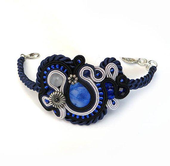 Unique Navy blue Soutache Cuff Bracelet Unique by sutaszula