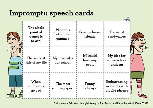 Teacher Tips and Tricks – impromptu speech cards