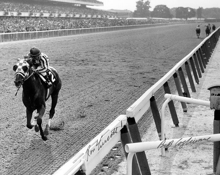 Photo from the 1973 Belmont, where Secretariat finished by 31 lengths and became the 1973 Triple Crown winner.