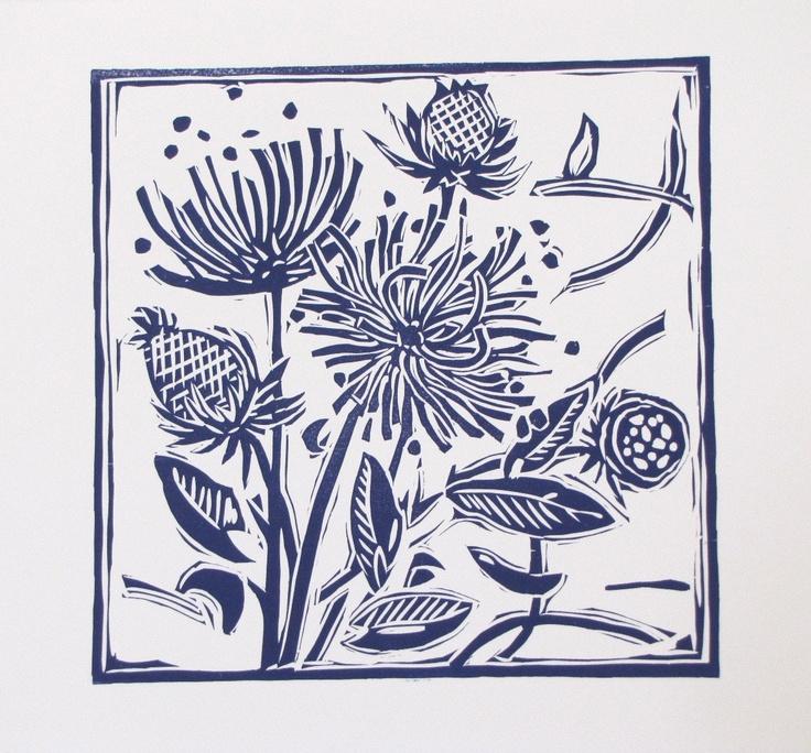 Lino Cut Print in midnight blue English Country Garden
