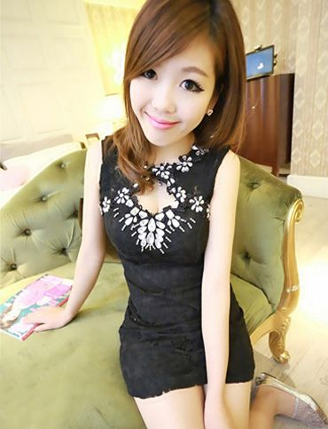 Women Dazzling Rhinestone Detail Hollow-Out Lace Tank Dress - Item 702041 at Eastclothes.com