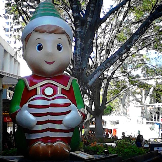 There are a number of rather large Christmas decorations the decorate The Queen Street Mall, including this elf.