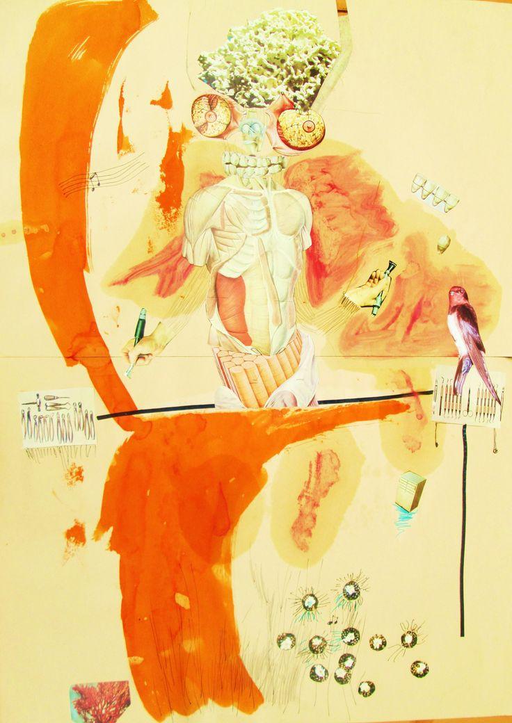 Collages e tecnica mista su carta.50x70.2013